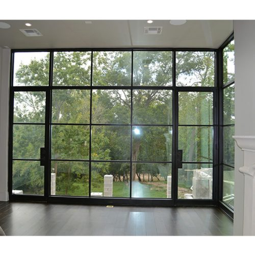Black metal french doors exterior