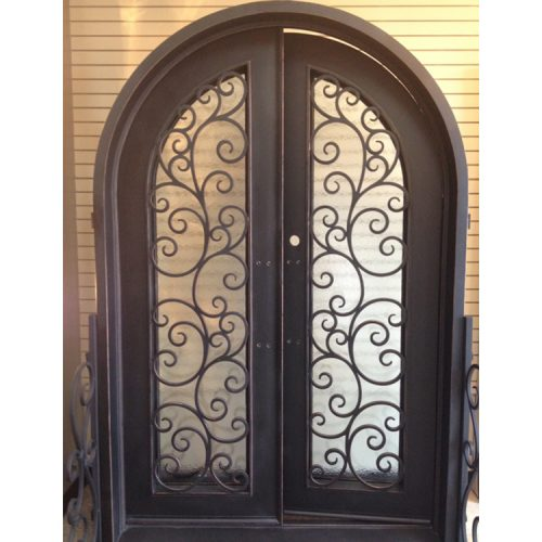 Factory direct sale arched top double entry doors