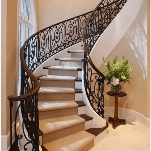Custom villa complex staircase with multiple staircase armrest